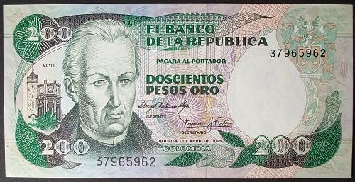 Colombia P428a 200 Pesos Oro UNC64