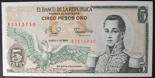 Colombia P406f 5 Pesos Oro UNC64
