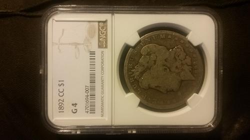 1892 CC Morgan Silver Dollar NGC G4