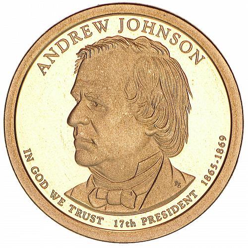 2011   S  PROOF  ANDREW JOHNSON   GOLDEN DOLLAR