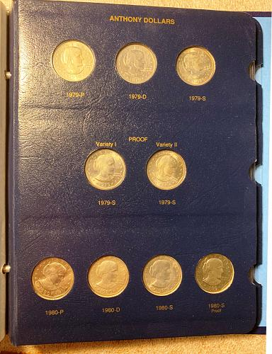 Complete Susan B. Anthony 18-Coin Album With 4 1981-S Proofs