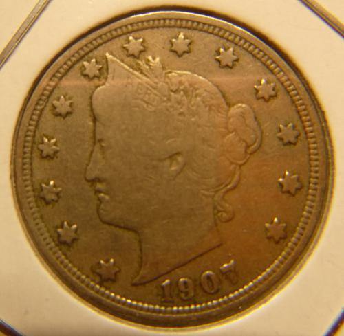 1907 P Liberty Nickels