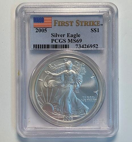 2005 Silver Eagle PCGS MS69 First Strike