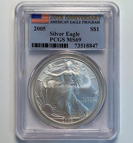 2005 Silver Eagle PCGS MS69