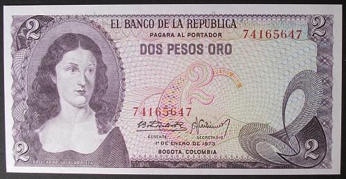 Colombia P413a 2 Pesos Oro UNC63