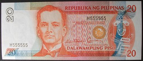 Philippines P170a 20 Piso UNC60 Solid Serial #H555555