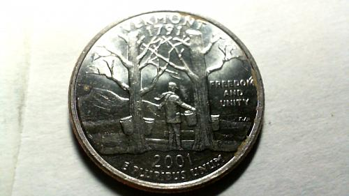 2001 D Vermont 50 States and Territories Quarters