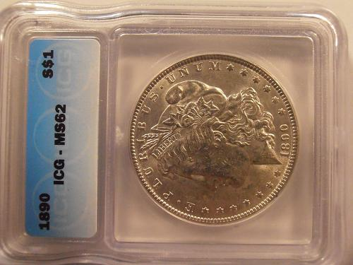 1890 P Morgan Silver Dollar - MS 63 Grade by ICG (90P501)