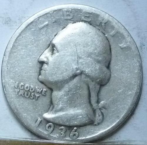 1936-D  FINE Washington Quarter F  ( 4519)