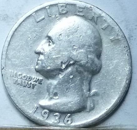 1936-S VERY FINE Washington Quarter VF  ( 4520)