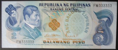Philippines P159a 2 Piso UNC60 Solid Serial #FM333333