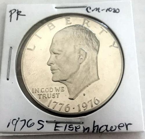1976 S Eisenhower Dollars: Type 2 - Sharp Design - Delicate Lettering