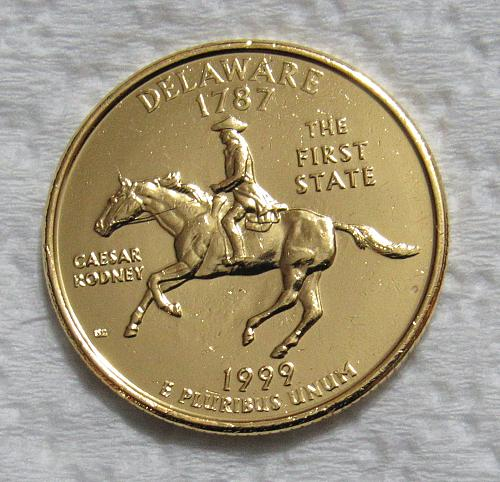 1999-P 25 Cents - Delaware State Quarter - Gold Colorized- First State Quarter M