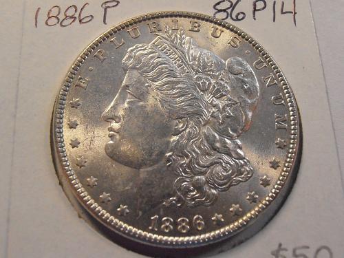 1886P P BU Morgan Silver Dollar -  (86P14)