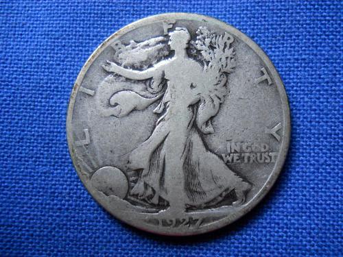 1927-S Walking Liberty Half Dollar.  Good-6 Grade.  Original Surfaces.   LC#120