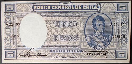 Chile P119 5 Pesos UNC60