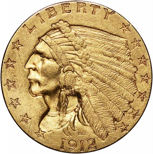 1912 $2.50 Gold Indian Quarter Eagle Nearly Choice BU - ToughCOINS