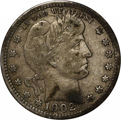 Scarce 1902-S Barber Quarter XF+  ToughCOINS
