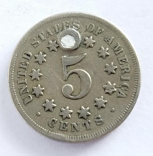 1868 Shield Nickel Holed