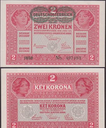 AUSTRIA 2 KRONEN 1917  UNC
