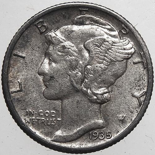 1935 S Mercury Dime #4