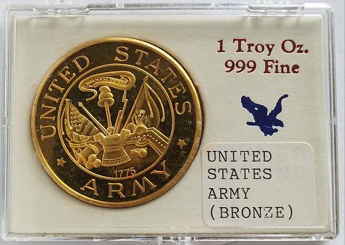 United States Army 1 Troy Oz Bronze Metal