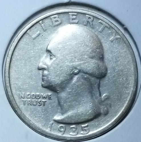 1935 P Very Good Washington Quarter VG  # 821-C )