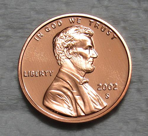 2002-S 1 Cent - Lincoln Memorial Cent - Cameo Proof