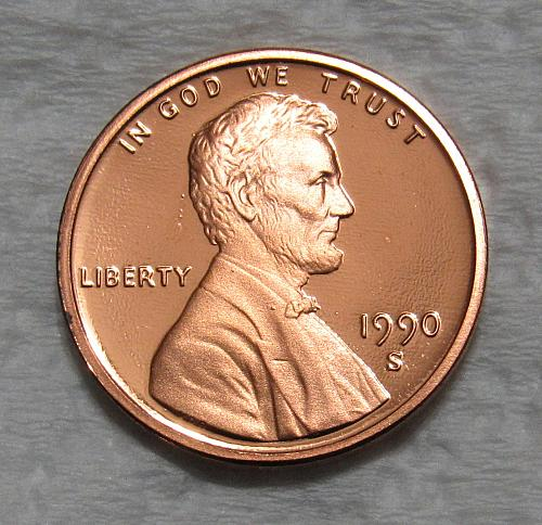 1990-S 1 Cent - Lincoln Memorial Cent - Cameo Proof