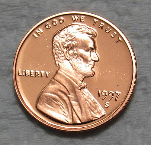1997-S 1 Cent - Lincoln Memorial Cent - Cameo Proof
