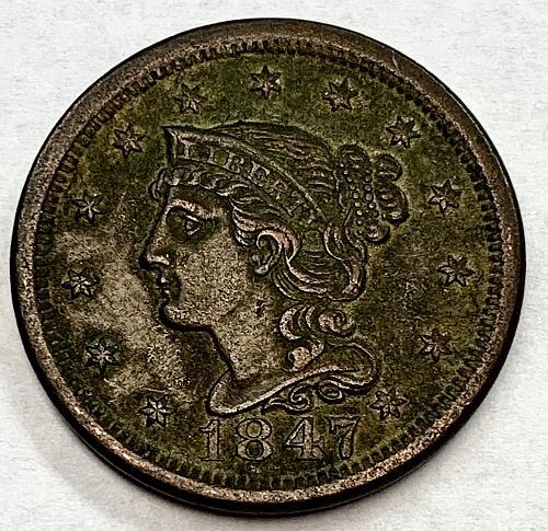 1847 Braided Hair Liberty Head Large Cent