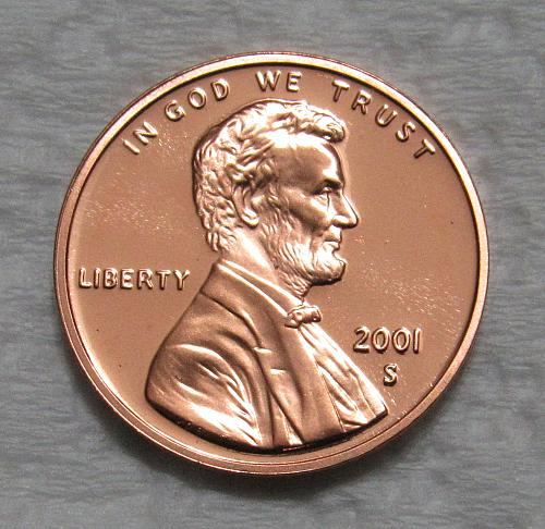 2001-S 1 Cent - Lincoln Memorial Cent - Cameo Proof