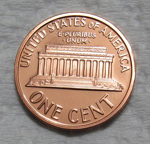 1996-S 1 Cent - Lincoln Memorial Cent - Cameo Proof