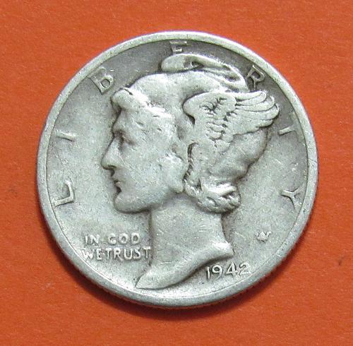 1942-D 10 Cents - Mercury Dime