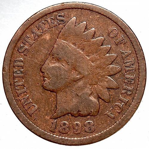 "1898 P Indian Head Cent #21   RPD ""8"" SNOW25 Error"