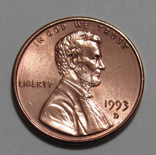 1993-D 1 Cent - Lincoln Memorial Cent