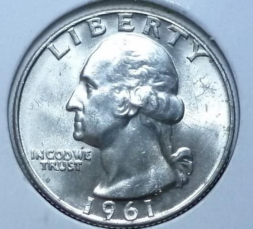1961-D UNCIRCULATED Washington Quarter BU ( 826-L)