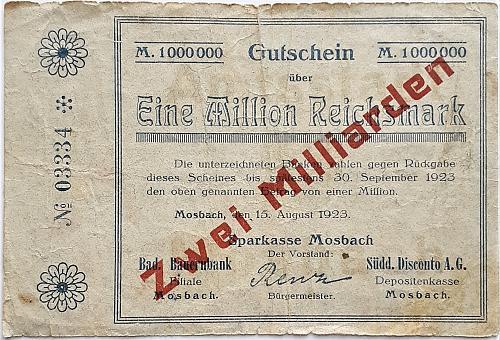 GERMANY 2 OVER 1 MILLION REICHSMARKS 1923 WORLD PAPER NOTGELD