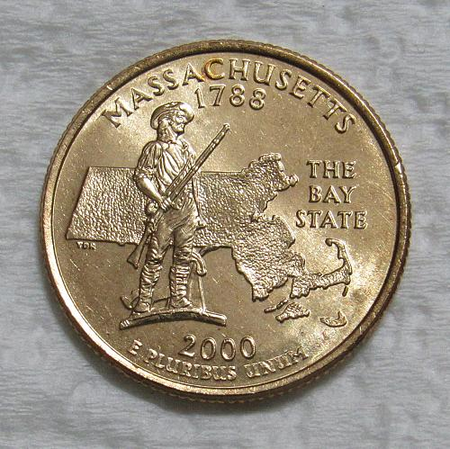 2000-D 25 Cents - Massachusetts State Quarter - Gold Layered