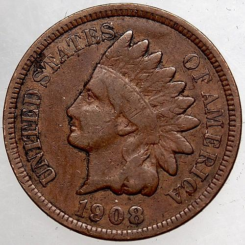 1908 P Indian Head Cent #47 Darker than shown.