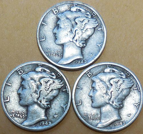 Mercury Dimes 1942-P 1942-D & 1942-S