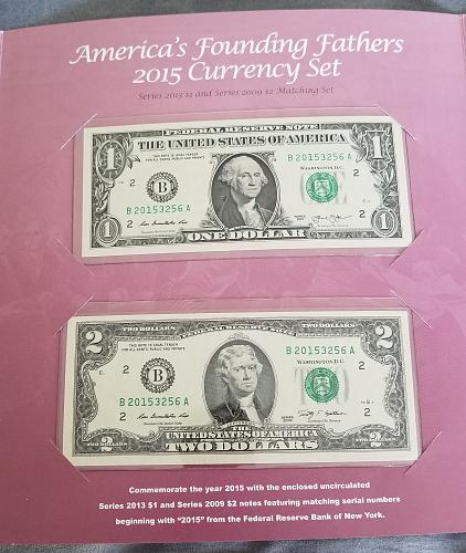 2015 Americas Founding Fathers Currency Set