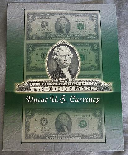 4x Uncut sheet 1995 $2 in BEP folder