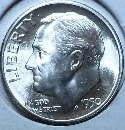 1950-S Gem Brilliant Uncirculated MS-66 Roosevelt Dime ( 975 )