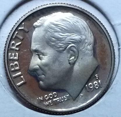 1981-S Type Two Clear S GEM Brilliant Proof Roosevelt Dime (983)