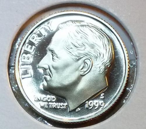 1999-S GEM Brilliant Proof Roosevelt Dime (96-B)