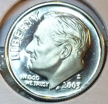 2003 S GEM Brilliant Proof Roosevelt Dime (96-F)