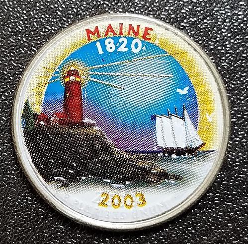 2003-D Maine State Quarter Color Enhanced