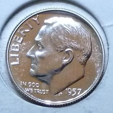1957- P Silver PROOF Roosevelt Dime. Very nice high grade ( 970)