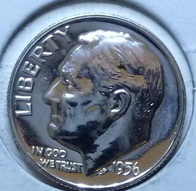 1956- P Silver PROOF Roosevelt Dime. Very nice high grade ( 969)